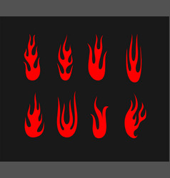 red flames set on black background vector image