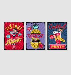 retro party template music poster sets vintage vector image