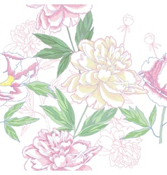 Seamless pattern with pink peonies vector image