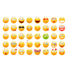 set of 3d cute emoticons emoji and smile icons vector image