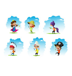 set of chidren weared in different costumes vector image