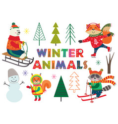 Set of isolated winter fun with animals part 1 vector