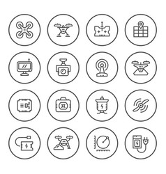 Set round line icons of quadrocopter vector