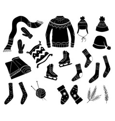 set winter clothes sweater hat scarf skates vector image