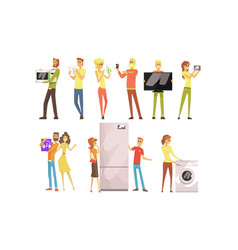 Smiling people shopping for household appliances vector