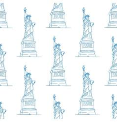 statue liberty seamless pattern vector image