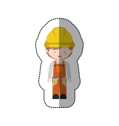 Sticker avatar worker with toolkit and helmet vector