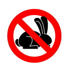 stop rabbit ban bunny hare is forbidden red vector image