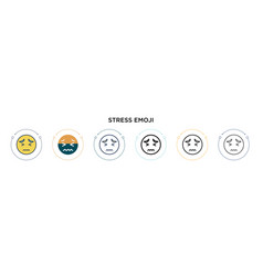 Stress emoji icon in filled thin line outline vector