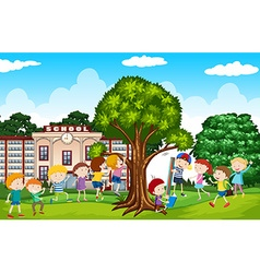 Students playing in the school yard vector