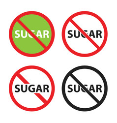 sugar free sign set no sugar icons vector image
