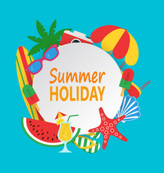 summer time concept with white circle for text and vector image