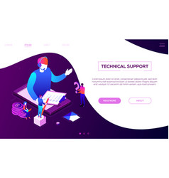 Technical support - colorful isometric web vector