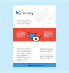 template layout for romantic chat comany profile vector image
