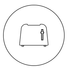 toaster icon black color in circle vector image