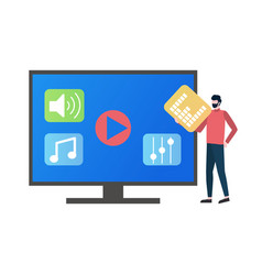 tv screen with icons for music playing and user vector image