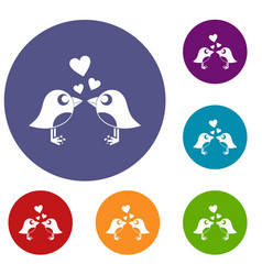 Two birds with hearts icons set vector
