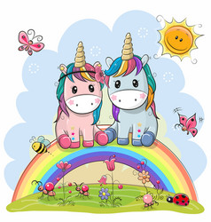 Two cartoon unicorns are sitting on the rainbow vector