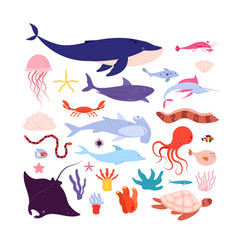 underwater fish and animals cute sea animal vector image