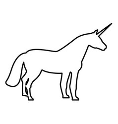 Unicorn icon black color flat style simple image vector