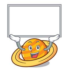 up board planet saturnus character cartoon vector image