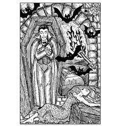 vampire engraved fantasy vector image