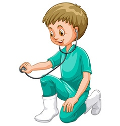 Vet in green uniform with stethoscope vector image