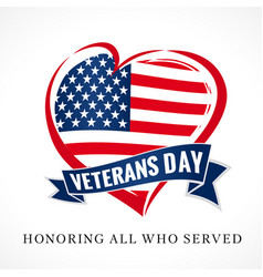 veterans day usa heart emblem colored vector image