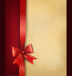 Vintage background with red gift bow and ribbon on vector image vector image