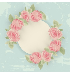 Vintage card with roses and round border vector image