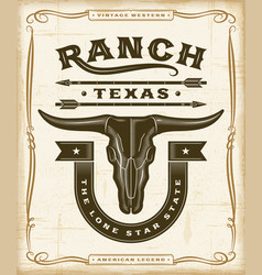 Vintage western ranch label graphics vector