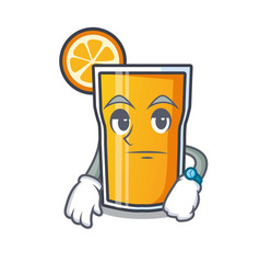 Waiting orange juice mascot cartoon vector