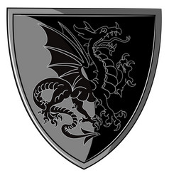 Winged heraldic dragon and heraldic shield vector