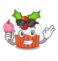 with ice cream cartoon homemade christmas cupcakes vector image