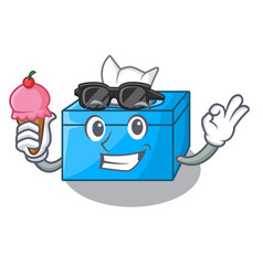With ice cream cartoon tissue box in the vector