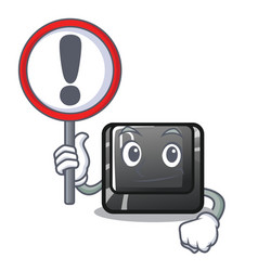 with sign button d on a computer mascot vector image