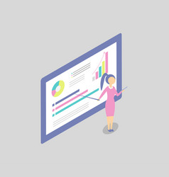 Woman at the blackboard shows presentation cartoon vector