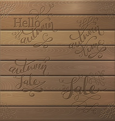 Wood autumn lettering vector