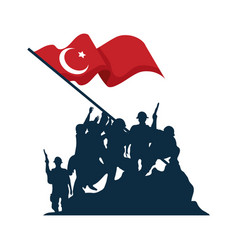 Zafer bayrami soldiers silhouette with flag vector