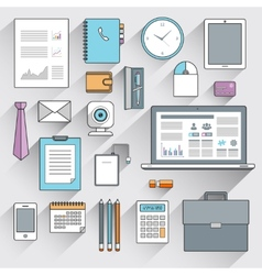 Business items set flat line vector image vector image