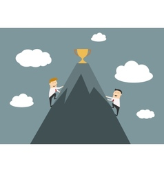 Businessmen climbing to the top of success vector
