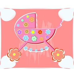 card for baby perambulator for girl vector image vector image