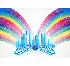 City with colorful rainbow vector image