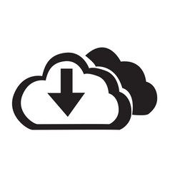 flat black cloud down button icon vector image