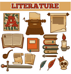 literature old vintage books and writer quill ink vector image vector image