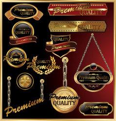 premium quality golden framed labels vector image vector image