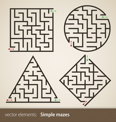 Set of four perfect maze vector image