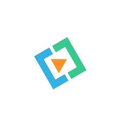 video play square icon logo vector image