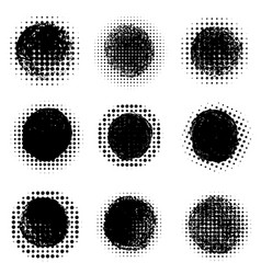 abstract halftone round dotted shapes design vector image