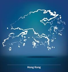 Doodle Map of Hong Kong vector image